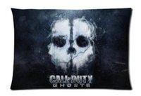 Cheap Bed Sofa Retangle Throw Pillow Cushion Cover Call of Duty Smoke Skull Pillowcase 20x30 Inch two sides