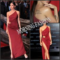 Reference Images One-Shoulder Satin Morning Fashion Celebrity Dress Megan Fox Burgundy One-Shoulder Slit Side Prom Gowns Sheath Long Formal Party Gown 2014 Dress