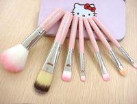 Wholesale 7pcs Hello kitty Make Up Cosmetic Brush Kit Makeup Brushes Pink iron Case Toiletry beauty appliances hello Kitty brush set DHL