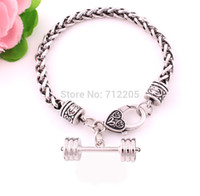 barbell weights - Fitness Weightlifting Gym bracelet free ship Wheat Link Bracelet Chain with Dumbbell barbell weight charm chain Bracelet