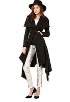 Wholesale 2015 Winter Fashion design coat dress fishtail hem v collar double pockets with Button Waist wool women coat