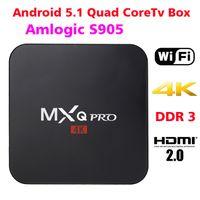Wholesale DHL MXQ Pro Android Amlogic S905 Quad Core TV Box HDMI WiFi K H XBMC KODI Fully loaded