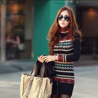 Nuova maglietta donne coreane di modo retro Stampa Collo Knit shirt manica lunga ispessito base Tops Maglia Camicia