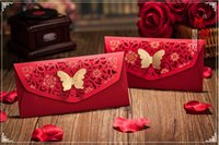 Wholesale New Cut Out Flower Gold Stamping Butterfly Decor Red Packet China Traditional Wedding Favor Money Envelope cm