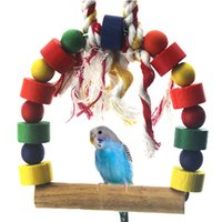 Wholesale Pets Budgie Parrot Bird Round Wooden Ladder Swing Rope Toy NVIE order lt no track