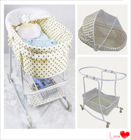 Wholesale Auto Newborn Cot Baby Cradle Swing Mosquito Net Dot Off white For Choosing Suitable For Years Kids Multi pupose Baby Cribs