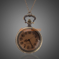 beaded watch patterns - Retro Bronze Pattern Quartz Pocket Watch Pendant Sweater Chain Necklace