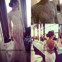 Trumpet/Mermaid beach scallop - Elie Saab backless Wedding Dresses amazing detailing Illusion Long Sleeve Lace Wedding Dress Steven Khalil Transparent Bateau Scallop