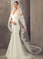 Chapel Length beach wedding veil - 2016 Custom Made one Layers Bridal Veils With Ribbon Edge Comb Tulle For Cathedral Beach Garden Wedding Dresses Gowns