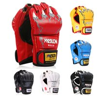 Wholesale 1 Pair MMA Grappling Gloves Half Finger Boxing Gloves PU Punching Bag Boxing Gloves