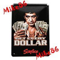 dollar item - lucky Mike86 Scarface Get Every Dollars Tin Sign Vintage House Art decoration Bar Retro Metal Painting K Mix Item CM