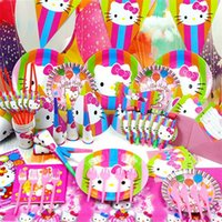 Wholesale 84pcs Luxury Kids Birthday Decoration Set Super Cute Cartoon Cat Party Supplies Baby Birthday Party Pack MT210