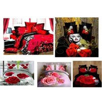 Wholesale Fashion D Red Rose Cotton Queen Bedding Comforter Duvet Cover Bedding Set