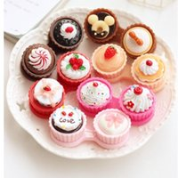 Wholesale 1PC Simple Travel Cartoon Cake Cream Shape Contact Lens Case Box Set Container