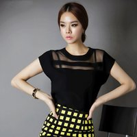 Cheap New 2015 Summer Women Black Tulle Sheer Blouses Shirts Ladies Tops Chiffon Blouse Short Hollow Out S-XXL