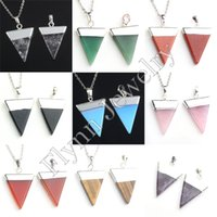 agate pyramid - Charm Amethyst Blue Sand Red Agate etc Triangle Pyramid Slice Natural Stone Pendant Accessories European Fashion Jewelry X Mix Order