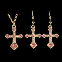 Wholesale Colorful Jewelry Sets Colares with Cruz Pendant Bijuterias New Year Valentine s Day Gift Gargantilha Com Pingente