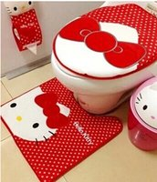 Cheap Kitty Bathroom Sanitary Sitting Toilet Seat Cushion Mat + Floor Mat PAD + Closestool Cover ; Cotton Cover 3PCS=ISET