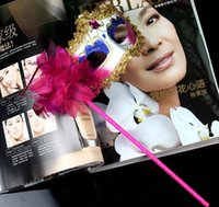 masquerade masks on stick - Masquerade Party on hold Masks Gold Cloth Coated Flower Side Venetian Masks Halloween Masquerade Party Masks on stick