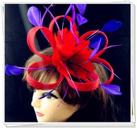 Wholesale red fascinators with purple feather decoration high quality sinamay fascinator hats great cocktail hats MSF124