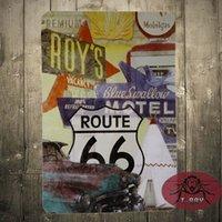 animal license plates - Route Vintage Tin sign Metal License Plate Sign fashion Antique Home Pub Bar decor
