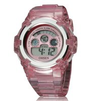 Children's banding lcd - Hot Sale Ohsen Fashion Cute Pink Digital Girls Kid Wristwatch Rubber band M Waterproof Boys Children Colors LCD Watches Gift