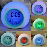alarm clock nature sound - Digital LED Color Changing Backlight Alarm Clock Thermometer Nature Sound WCS_492