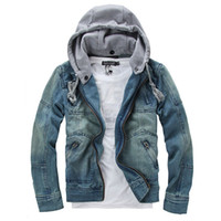 designer jackets for men - New Spring Removable Hat Jean Jacket For Men Casual Mens Designer Jackets Hoodie M XXXL Plus Size Men Clothing Coats D13