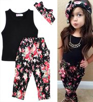 Wholesale Retail summer style children clothing suits bow girl hairband vest tops pants girl outfits Piece sets kids Floral sets HX