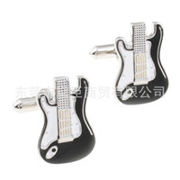 bass clothing - Popular spot mixed batch of clothing Dongguan cufflinks black electric bass instrument series cufflinks CZ