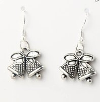 bell fish - Fashion x31 mm Tibetan Silver Jingle Bell Christmas Dots Bells Charm Pendant Earrings Silver Fish Ear Hook E793