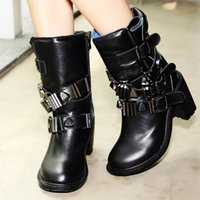 Wholesale Fashion Girls Punk Winter Martin Boots Buckles Metal Zipper Side Round Toes High Rough Heel Ladies Warm Shoes Black Leather