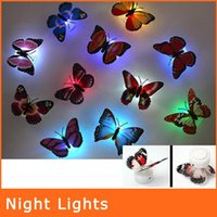 Wholesale Colorful Fiber Optic Butterfly Nightlight W LED Butterfly For Wedding Room Night Light Party Decoration Wall Lights NL009
