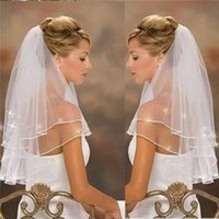Wholesale Bridal Veil Wedding Dress Accessories Ivory White Crystals Elegant Cathedral Beautiful Two Tier Grace Ribbon Edge Sticky Beads Wedding Veil