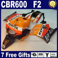 Cheap Fullset ABS fairings kits for Honda repsol orange 1993 1994 CBR600 F2 1991 1992 CBR 600 F2 92 93 CBR600 F 91 94 fairing kit+ tan