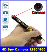 Wholesale New HD Spy Camera Spy Pen Camera Golden With Black Color Hidden Webcam Camera DHL Free Delivery
