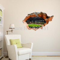 free shipping cool football field 3d art wall decals removable pvc wall stickers or your home or office decor 58953cm best office art