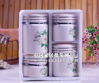 Wholesale Yiwu factory direct creative special camellia pattern Ceramic Canister family of four JH6001