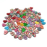 bamboo crafts diy - HOT DIY Multicolor Flatback Heart Shape Holes Wooden Painting Buttons Sewing Craft Scrapbooking Knopf Buttons New
