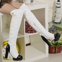over the knee boots - Fashion Thick High Heels Over The Knee High Boots For Women Sexy Round Toe Zip Long Winter Snow Boots Hot Sale Shoes