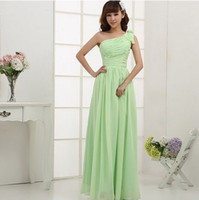 Cheap free shipping lime mint light green greece one shoulder chiffon,dress bridesmaid dresses under 100 bride maid gown B1066
