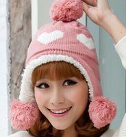 Wholesale 4 Color Beanies Double Pattern Hat Women Plain Warm Soft Protect Ears Knit Cap Knitted Touca velvet Gorro Caps