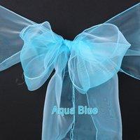 aqua wedding decor - Aqua Bule quot x quot Organza Chair Sash Bow Decor For Bridal Wedding Party