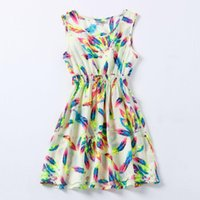 Wholesale 2015 Casual Dress Vestidos Tropical Printed Bohemian Sleeveless Roupas Femininas Clothing Summer Women Dress Vestidos De Renda