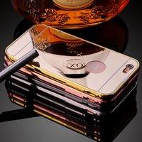 achat en gros de dur iphone5 métallique-Pour iPhone 6 5 5S 6Plus luxe Aluminium Effacer Miroir Métal Or Bumper 2in1 dur Phone Housse Etui pour iPhone iPhone5 plus
