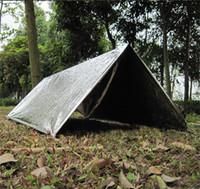 Wholesale GAE1 Outdoor Survival Life Saving Waterproof Sliver Mylar Thermal PET Emergency Shelter Camping Tent Emergency Blanket