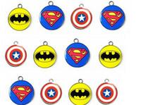 batman charms - X circular Batman superman Captain America mixed logo superhero DIY Metal Charms Jewelry Making pendants