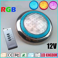 Wholesale LED RGB Embedded Pool Lights Lamps Of Outdoor V W IP68 Remote Controler Underwater Stainless Steel LED Swimming Pool Lamps Lighting