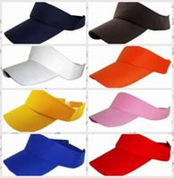 Wholesale Cotton Solid Color Visor Hat Summer Sports Sun Adjustable Golf Tennis Hat Cap Plain Blank Sunshade Hat LLA64