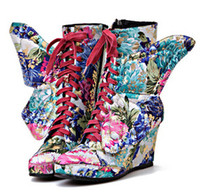 red wing boots - New Autumn Winter Keep Warm Floral Surface Fashion Broken Beautiful Boots For Women Two Wear Zipper Wedge Heels Wings Boots
